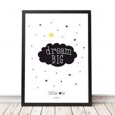 """""""Dream BIG"""" printable poster. Een mooie poster voor in de baby of kinderkamer! www.charlyfine.nl"""