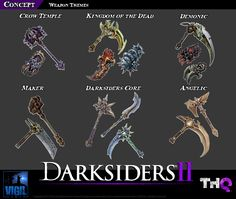 Game Art Design: Darksiders II - Create a weapon competition Darksiders Horsemen, Darksiders 2, Weapon Concept Art, Armor Concept, Illustration Courses, Medieval, Crow Skull, Rp Ideas, Prop Design