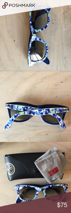 Floral Ray-Ban Sunglasses Blue and green floral Ray-Ban sunglasses. Barely worn, comes with case and lens cloth Ray-Ban Accessories Sunglasses