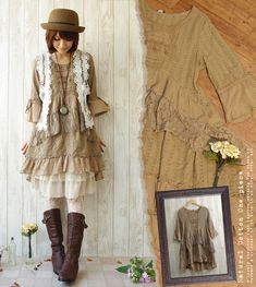mori girl... i love that this has spunk as well as being frou frou and girly Skirt Outfits, Fall Outfits, Fall Hats, Autumn, Skirts, Ideas, Dresses, Style, Fashion