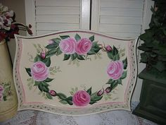 ON Sale!!!   $37.95 ....Hand Painted Decorative Tray - Romantic Rose Wreath