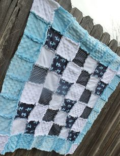 Blue/Navy & White Elephant Rag Quilt/Blanket Perfect by BabyBazerk! Would be soooo adorable in baby boy nursery! blue nursery, navy nursery, elephant nursery, blue elephant nursery, rag quilt, nursery bedding