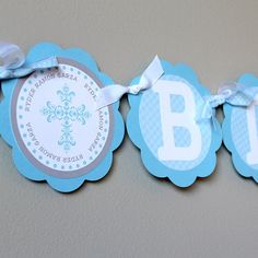 Baby Boy Baptism Banner - God Bless - Free Personalization on Ends - great for a Baptism, Christening, Communion, Dedication
