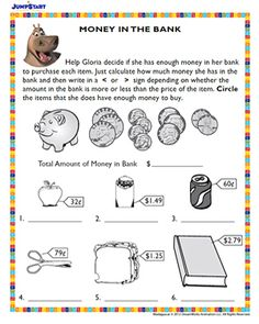 money in the bank printable math worksheet for kids - Kids Worksheets Printable
