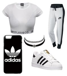 """""""Chill out"""" by lindsey-clevenger ❤ liked on Polyvore featuring NIKE, adidas and Charlotte Russe"""