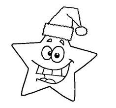 estrela de natal para colorir com gorro