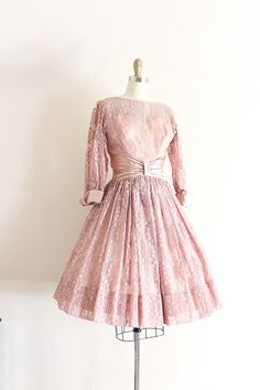 Dusty pink lace prom dress c. 1950s / early 60s