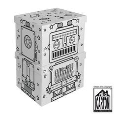 """Villa Carton Storage Boxen #Roboter.● Schöne, große #Aufbewahrungsboxen für kleine und große """"Schätze"""". ● Deckel und Boden einzeln. ● Mit vorgedruckten schwarzen Konturen. ● Übereinander gestellt wird aus den 2 Boxen ein #Roboter. ● Aufgestelltes Format: je 45 x 29 x 35 cm (BHT) ● #Wellpappe, #Karton, #Kreativ, #Spielen, #joyPac®"""