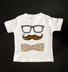 Mustache Glasses and Bow Tie- Funny Youth Mustache Shirt - Baby and Toddler - Kids Tshirt - Childrens Clothing - Hipster Kids Shirt on Etsy, $15.00