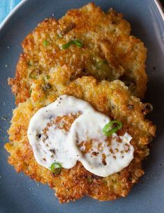 Cheesy Quinoa Cakes with a Roasted Garlic and Lemon-maybe try with polenta instead of quinoa