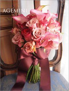 カラーとローズのウェディングブーケ Wedding bouquet - AGEMINI
