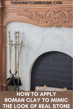 How to get the look of a real stone surround with Roman Clay, this is an easy DIY and totally affordable! #fireplace #diy #romanclay