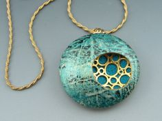 Contemporary polymer clay pendant necklace in by StonehouseStudio