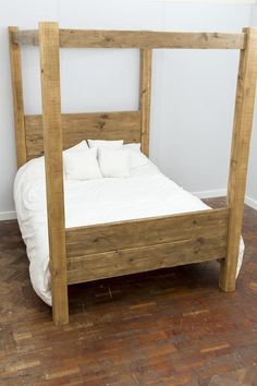 Hofgi Handmade Reclaimed Wood Four Poster Bed. Custom Made to Order. Natural Wood Table, Bed Shelves, Four Poster Bed, Bed Sizes, Custom Made, Master Bedroom, The Originals, Handmade, Furniture