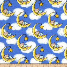 Flannel Dreamy Bear Royal from @fabricdotcom  Designed for Newcastle Fabric, this double napped (brushed on both sides) flannel features sleepy teddy bears resting on the moon. It's perfect for quilting, apparel and home decor accents. Colors include yellow, shades of blue, white, pale yellow, green, brown, black and taupe.