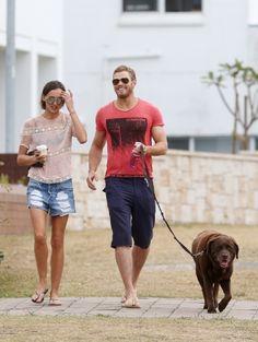 Kellan Lutz and Sharni Vinson take their dog for a walk in Sydney. 12-23-2012