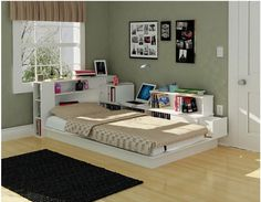 Bookcase Headboard Twin Platform Bed Kids Bedroom Furniture Storage Space White