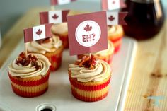 Maple Bacon Cupcakes for Canada Day Add extra cream cheese and milk for frosting I used whole milk Cupcake Flags, Cupcake Picks, Cupcake Toppers, Cupcake Cakes, Diy Cupcake, Easter Cupcakes, Mini Cupcakes, Maple Bacon Cupcakes, Easter Bunny Ears