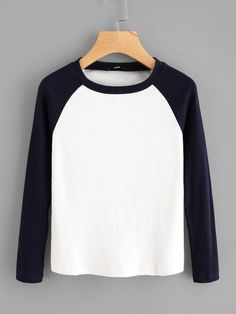T-Shirts by BORNTOWEAR. Contrast Raglan Sleeve Ribbed Tee