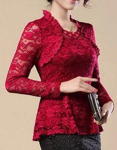Цвет Раффлед кружева плед клобук шеи Твердые Plain Блузы