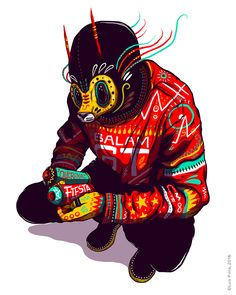 """BALAM GT"" self-initiated illustration project by Luis Pinto, 2016.     A mixture of Guatemalan/mayan culture + masks + street art + pop culture 