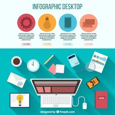Infography of desktop with office elements Premium Vector