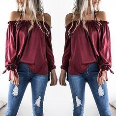Trendy Frilled Off Shoulder Casual Blouse