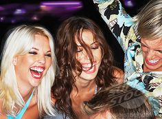 Group of people dancing in nightclub, laughing, close-up   Stock ...