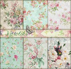 Mint Wedding Digital Floral Paper Vintage Wedding by Karoliks
