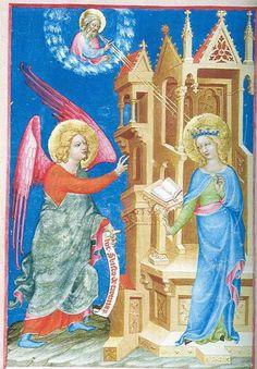 Zvěstování P.Marii, Laus Mariae Konráda z Haimburku, kolem 1360 Illuminated Manuscript, Mary, Princess Zelda, Fictional Characters, Fantasy Characters