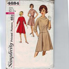 Hey, I found this really awesome Etsy listing at https://www.etsy.com/ca/listing/155900951/1960s-vintage-sewing-pattern-simplicity