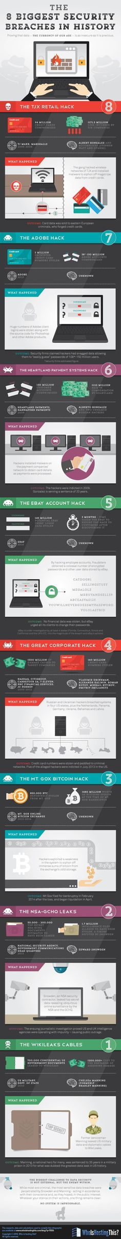 The 8 Biggest Security Breaches in History #infographic #Security #DataBreaches #Hacking