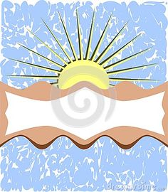 Illustration representing an abstract decorated label with sun and a stylized sky
