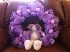 Easter wreath I made out of purple & gold mesh with purple deco tubing, purple glamour rope & different shades of purple eggs