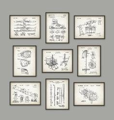 Ski Patent Print Set Of 9 2 Vintage Skis Design  by QuantumPrints