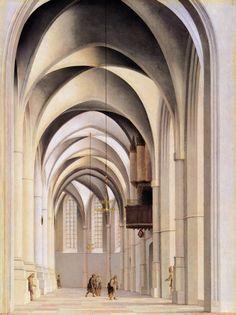 Pieter Jansz Saenredam, Blick in den Chorumgang von St. Bavo-Kirche in Haarlem, 1635, Gemäldegalerie Berlin