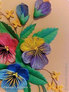 Картина панно рисунок Квиллинг Анютины глазки - Бумажные полосы фото 4