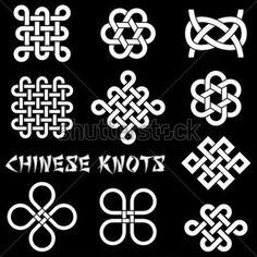 Čínské uzly (Clover Leaf, Flower Knot, nekonečný uzel, atd.) kolekce pro vaše logo, design nebo tvůrčí projekt (vektorové ilustrace).
