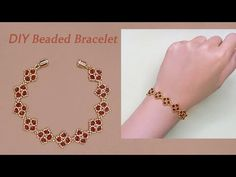 DIY Beaded Bracelet with Red Bicone Crystal Beads and Gold Seed Beads红水晶串珠手链 – DIY jewelry Beaded Bracelets Tutorial, Beaded Bracelet Patterns, Seed Bead Bracelets, Seed Bead Jewelry, Bead Jewellery, Seed Beads, Seed Bead Patterns, Beading Patterns, Beaded Earrings