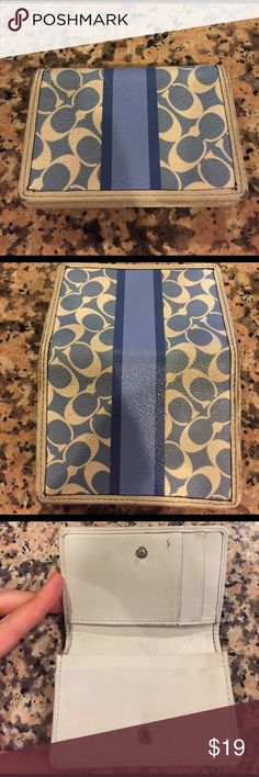 Coach Wallet Blue coach wallet with room on inside for multiple cards, some markings and scratches shown in pictures Coach Accessories