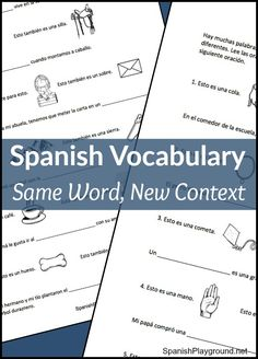 Learning Spanish vocabulary in different contexts helps kids understand words: silla is chair and saddle, cola is tail and line. Free printable activity.
