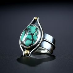 Metalsmiths Amy Buettner & Tucker Glasow. Neptune Mine Variscite Ring. Fabricated Sterling Silver and 18k. www.amybuettner.com