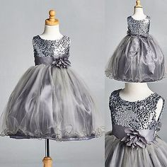 NEW Charcoal Sequence Flower Girl Dress Pageant Recital Holiday Tulle Satin #28
