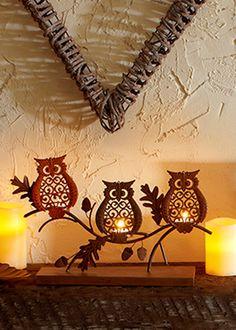 Owl Candle Holder Pinned by www.myowlbarn.com