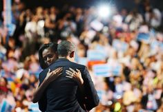 """President Barack Obama and first lady Michelle Obama hug onstage during the Democratic National Convention in Charlotte, on September 6, 2012"" -- The Atlantic"
