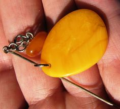 Polished Antique Honey Yellow white Natural Baltic Amber Brooch Stone 4 gr 老琥珀