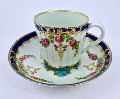 Worcester Dr. Wall Coffee Cup & Saucer, Floral, Fluted  1800.