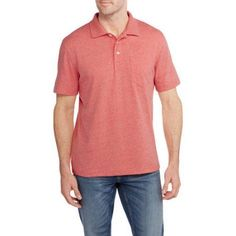 George Big Men's Solid Jersey Polo, Size: 3XL, Orange