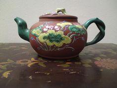 Rare antique Chinese Yixing teapot bat peach prunus lotus enamel painting
