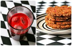 Rød juice og brød af grøntsagspulp